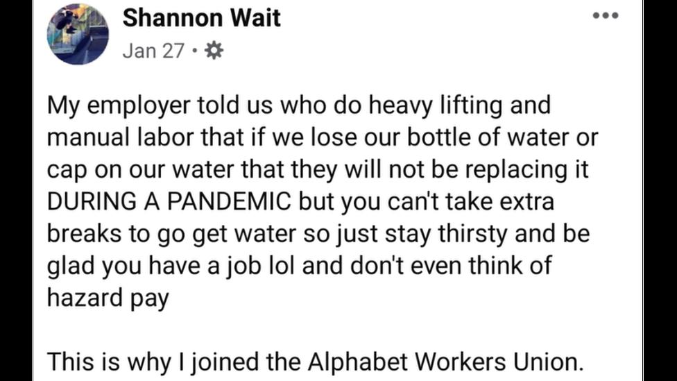 Pantallazo del post de Shannon Wait en Facebook