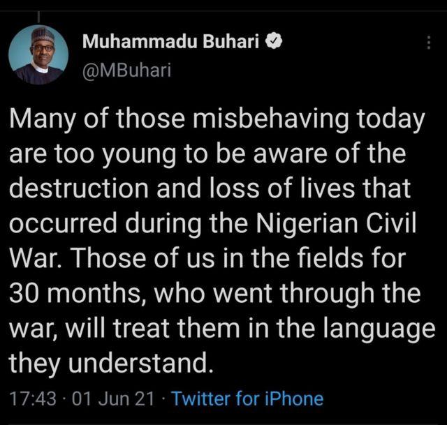 Twitter Deletes Nigerian President Muhammadu Buhari's Post Referring to Country's 1967-70 Civil War