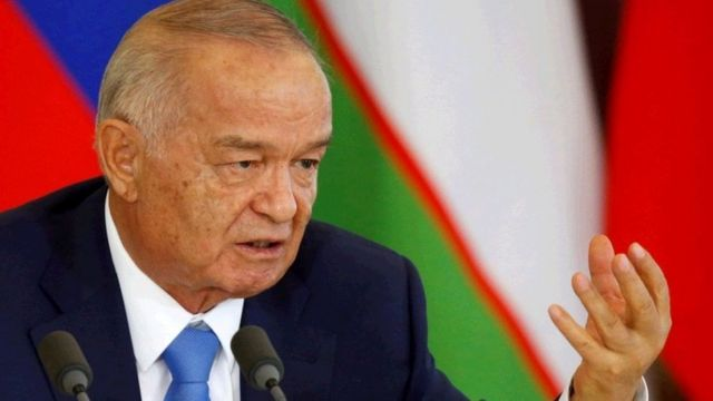 Uzbek President Islam Karimov speaks during a joint news conference with Russian President Vladimir Putin (not pictured) following their meeting at the Kremlin in Moscow, Russia, April 26, 2016