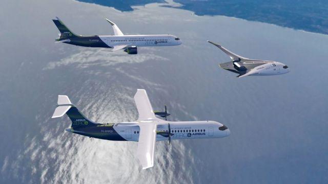 Os três aviões-conceito ZEROe da Airbus