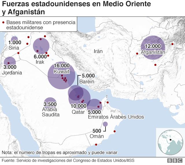 Mapa de las fuerzas estadounidenses en Medio Oriente.