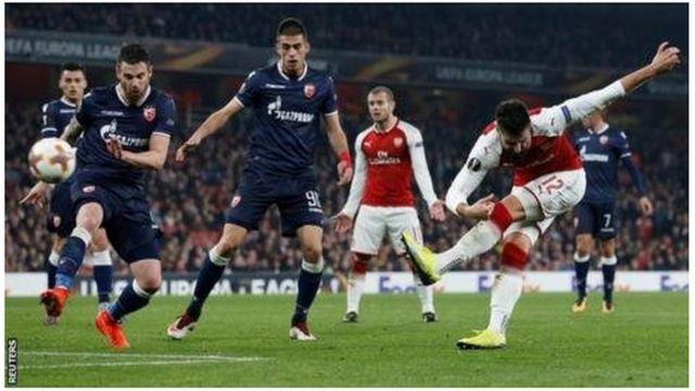 Giroud alifunga goli la ushindi katika mchezo wa awali