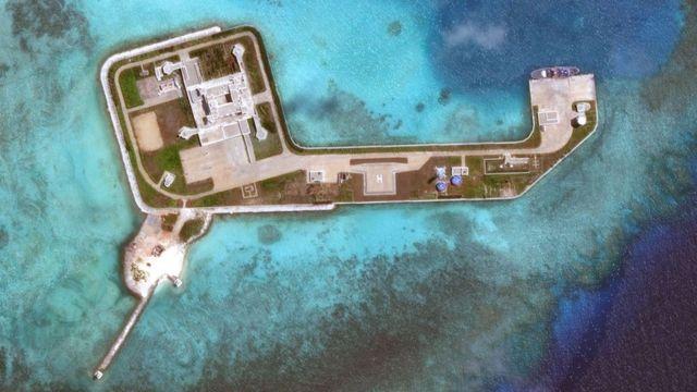 Vista aérea de 2018 de parte de las islas Spratly.