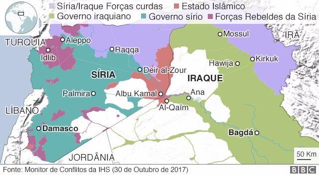 Mapa das áreas controladas elo EI