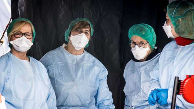 Personal sanitario del hospital de Padua.