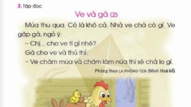 Ngụ ngôn 'Ve và kiến' của La Fontaine thành 'Ve và gà' trong sách Tiếng Việt lớp 1 bộ Cánh Diều gây tranh cãi