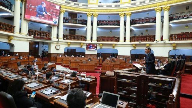 Vizcarra defendiendo su inocencia el 9 de noviembre en el Congreso peruano.