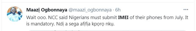 reaction to Nigeria goment order for pipo to link dia IMEI to dia SIM