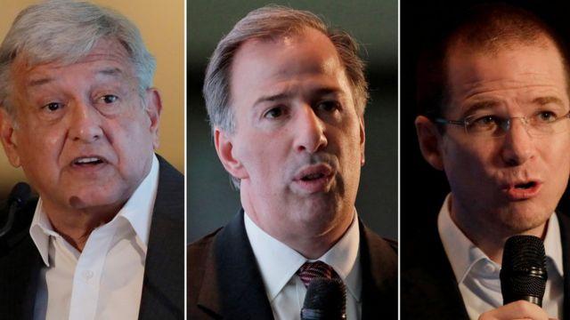 写真左からロペスオブラドール氏、PRIのホセ・アントニオ・ミード候補、PANのリカルド・アナヤ候補