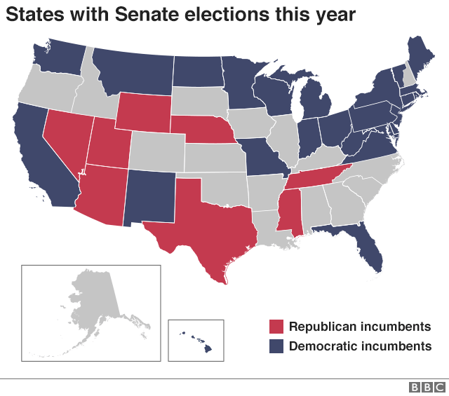 A map of US states that have Senate elections this year.