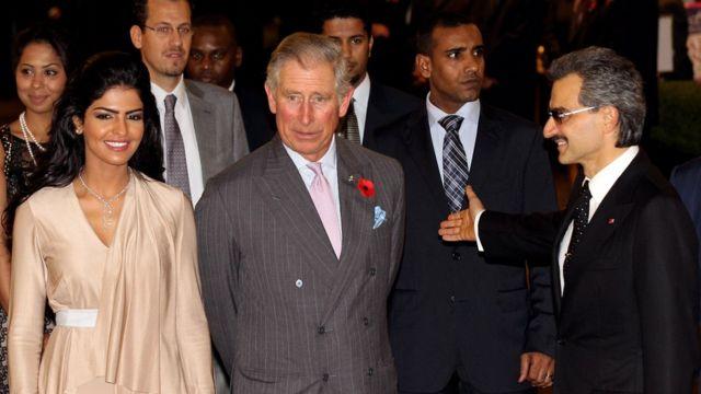 شاهزاده طلال و همسر سابقش در دیدار با پرنس چارلز، ولیعهد بریتانیا