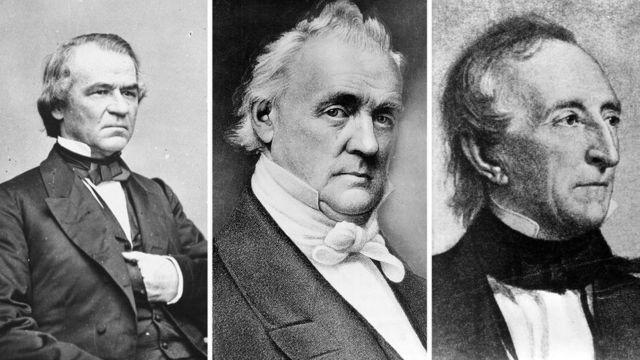 Andrew Johnson, James Buchanan y John Tyler