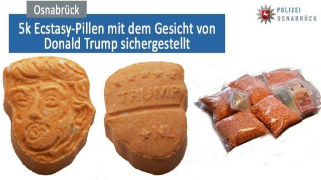 Bulan Agustus 2017, ribuan pil ekstasi berbentuk mirip wajah Donald Trump ini disita polisi di kota Osnabrück, Jerman.
