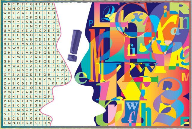 Ilustración de dos rostros cubiertos de letras.