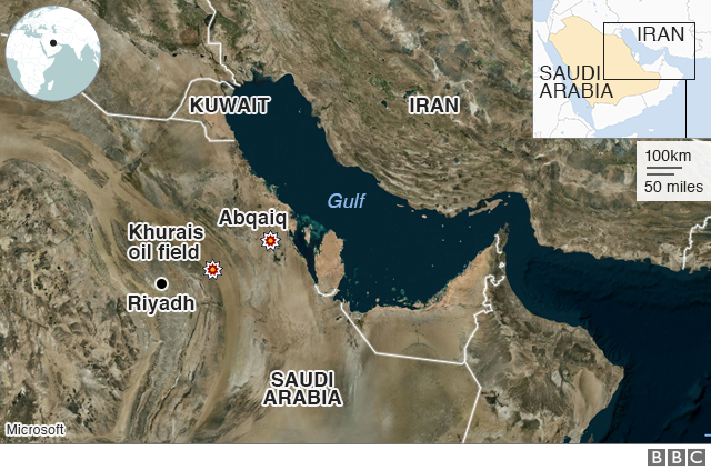 A map showing Saudi oil strikes