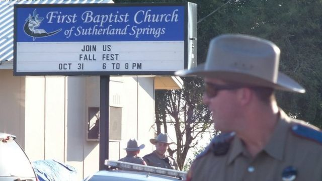 Police outside the church.