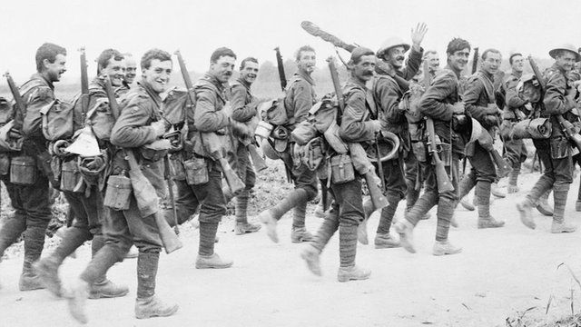Soldiers heading towards the Somme