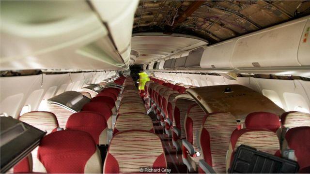 Interior de avião aposentado