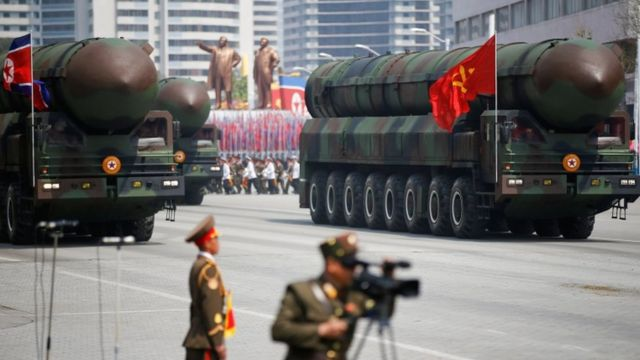 A truck carrying what is likely to be a solid fuel ICBM in Pyongyang on 15 April 2017