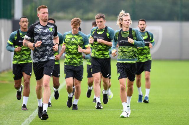 Norwich City players in pre-season training