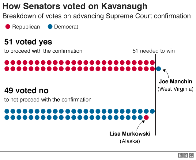 Graphic showing a breakdown of how Senators voted on the procedure vote