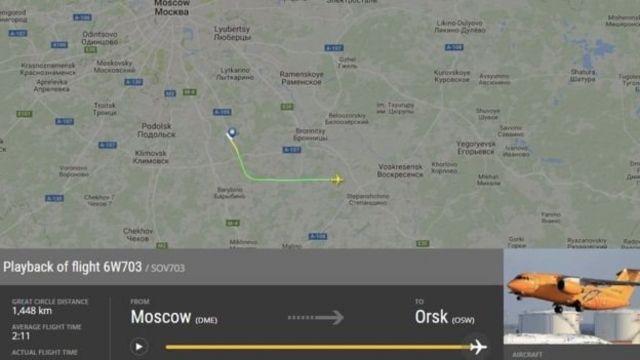 Сервис FlightRadar опубликовал карту полета Ан-148