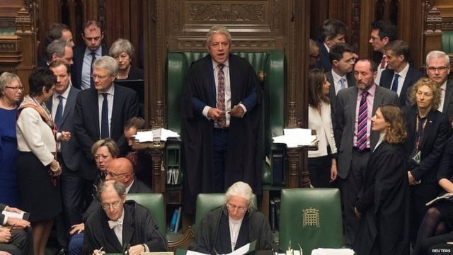 Speaker John Bercow, surrounded by MPs in the House of Commons