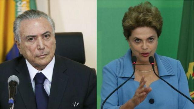 Montagem de Michel Temer e Dilma Rousseff