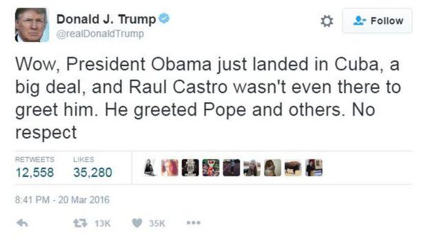 """Donald Trump Tvitterdə yazmışdı: """"Prezident Obama indicə Kubaya enib, ciddi məsələdir, Raul Kastro heç onu qarşılamağa da çıxmayıb. Amma papanı və başqalarını qarşılayıb. Hörmətsizlikdir"""""""