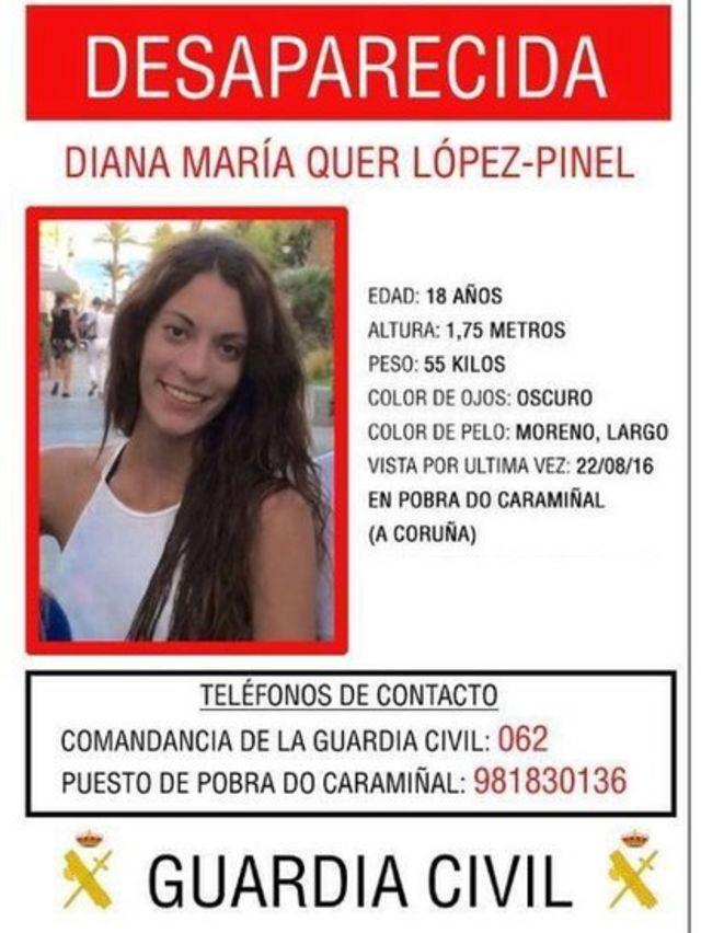 Cartel anunciando la desaparición de Diana.