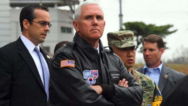 US Vice President Mike Pence visits the truce village of Panmunjom in the Demilitarized Zone (DMZ) on the border between North and South Korea on 17 April.