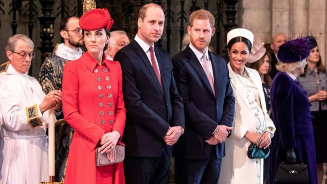 """Prince Harry and Meghan, Duchess of Sussex, stand with Kate, Duchess of Cambridge, and Britain""""s Prince William at Westminster Abbey for a Commonwealth Day service in London, Britain March 11, 2019."""