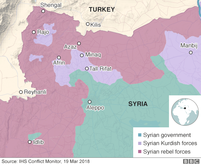 Map showing control of Afrin and north-western Syria (19 March 2018)