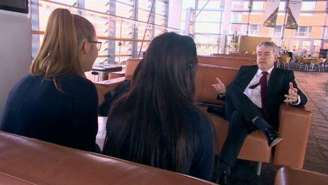 Carwyn Jones being interviewed by pupils from Ysgol Gyfun Cymer Rhondda