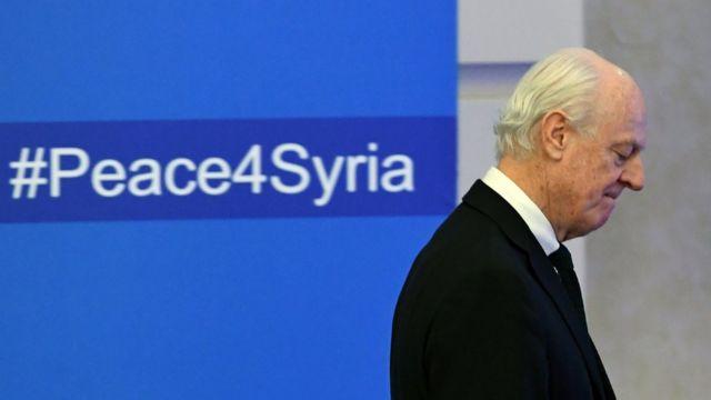 صورة تظهر المبعوث الأممي لسوريا ستيفان دي مستورا