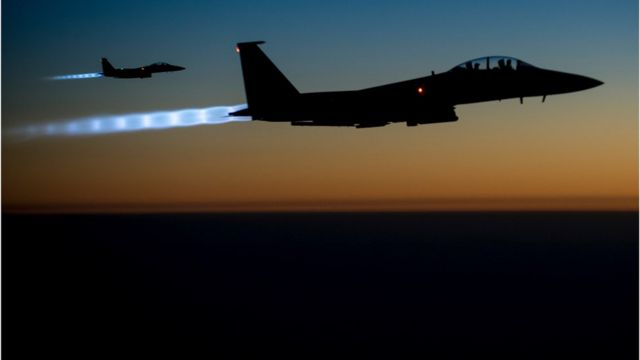 Two U.S. Air Force F-15E Strike Eagle aircraft fly over northern Iraq Sept. 23, 2014