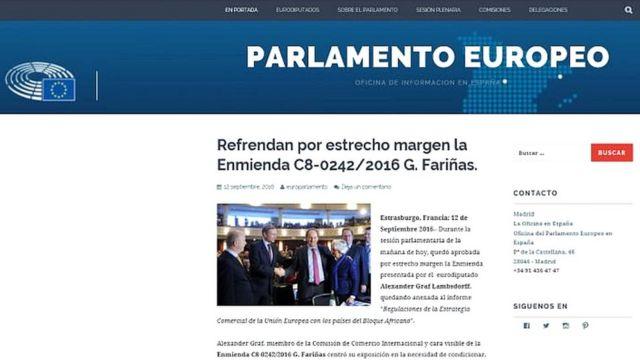 Portal clonado del Parlamento Europeo