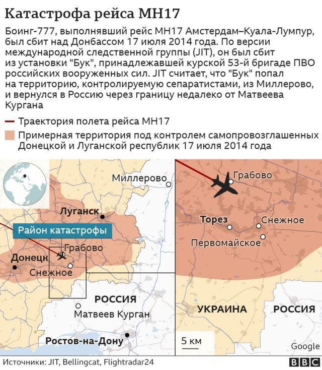 Карта места катастрофы