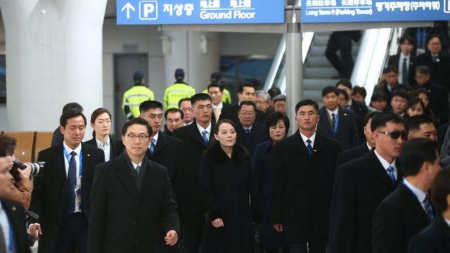 지난 2월 인천공항에서 KTX 공항역으로 이동하고 있는 김여정 노동당 제1부부장
