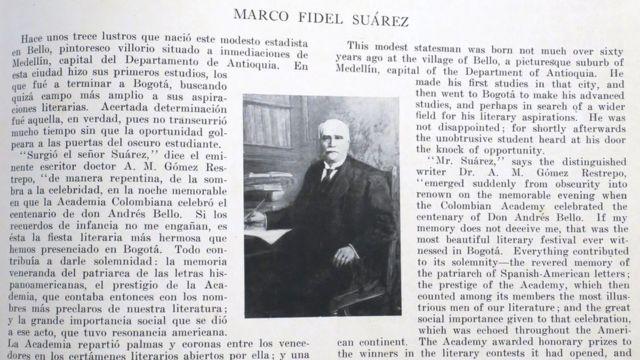 Página dedicada a Marco Fidel Suárez.