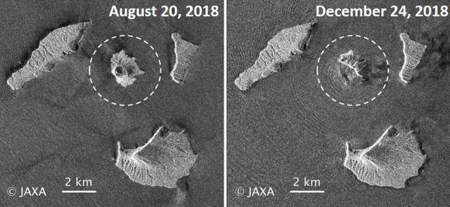 Imágenes de radar del Anak Krakatoa.