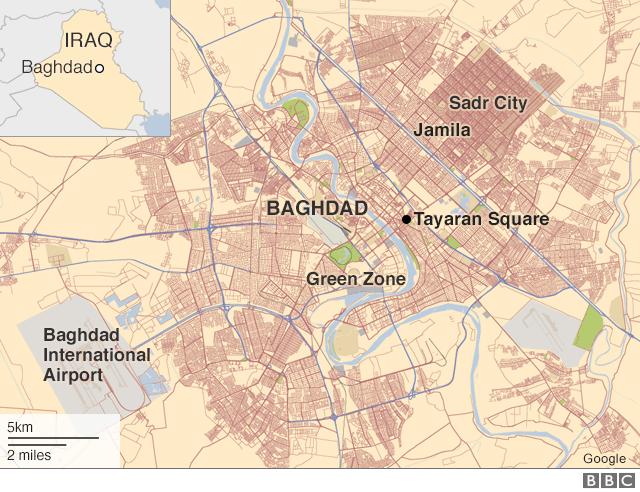 Map of Baghdad showing locations of Tayaran Square and Jamila