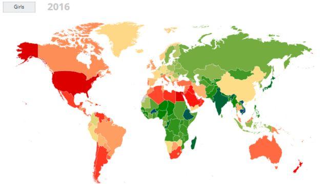 女子の肥満率を国ごとに色分けした。肥満率が最も高い国は赤で表示され、オレンジ色、黄色と続く。緑色と青の国では、肥満の人は未成年人口の5%以下(2016年時点)