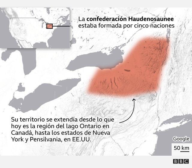 Mapa mostrando la extensión del pueblo haudenosaunee al norte del actual Estados Unidos