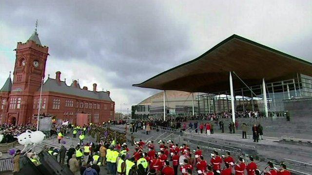 The Senedd building opens in Cardiff Bay in 2006