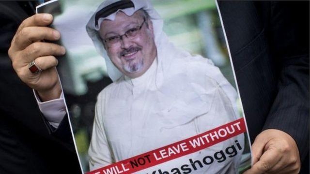 Плакат з фото Джамаля Хашоггі на акції протесту