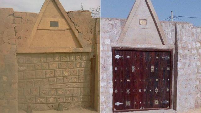 Dos fotos que muestran como fue destruida la puerta de la mezquita de Sidi Yahia y su reconstrucción.