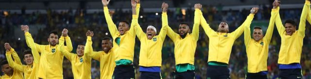 Brazil's football players celebrating after winning the men's football final over Germany in Rio on 20 August 2016