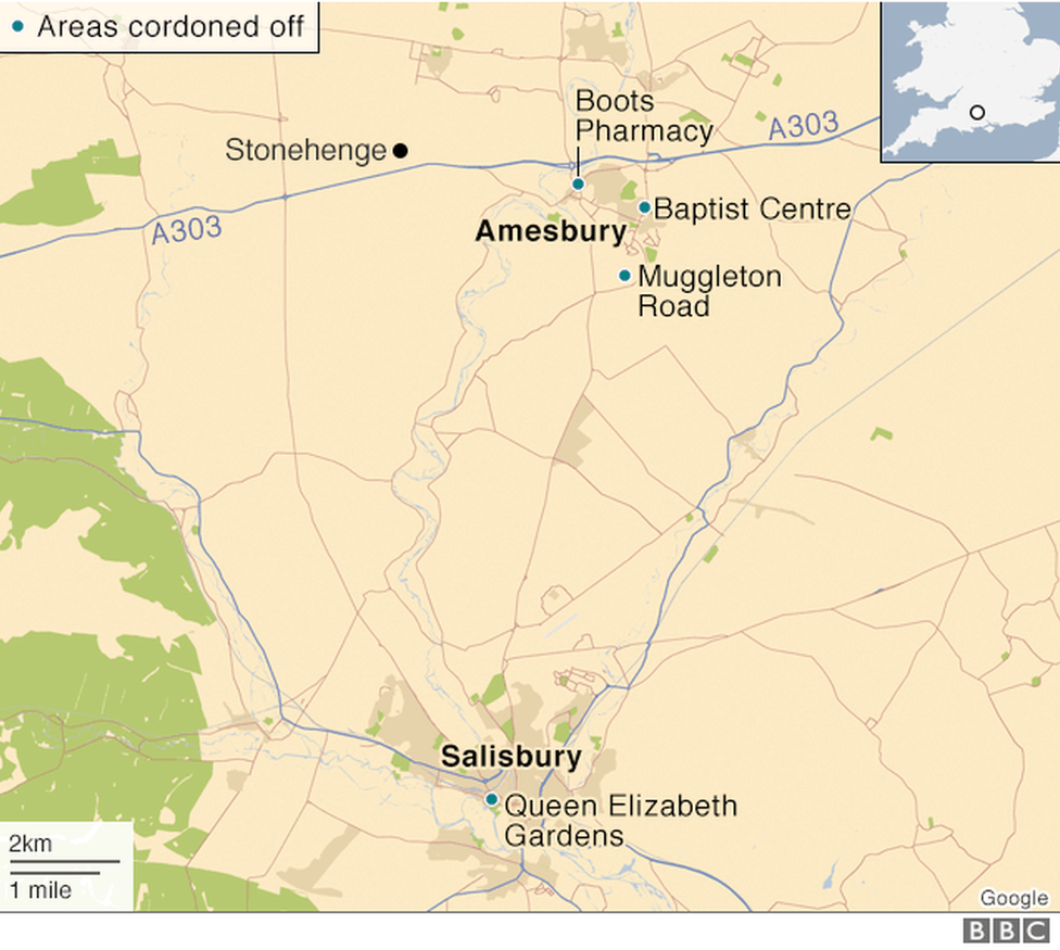 A map of the locations involved
