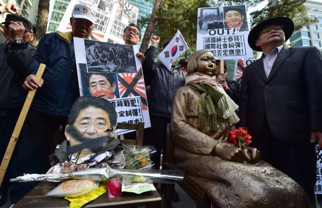 South Korean protestors place a damaged portrait (L) of Japan's Prime Minister Shinzo Abe next to a statue (R) of a South Korean teenage girl in traditional costume called the 'peace monument' for former 'comfort women' during an anti-Japan rally outside the Japanese embassy in Seoul on April 1 2015.